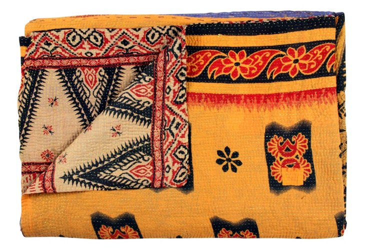 Hand-Stitched Kantha Throw, Nila
