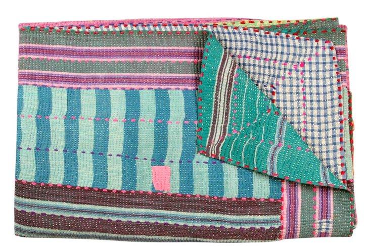 Hand-Stitched Kantha Throw, Nivriti