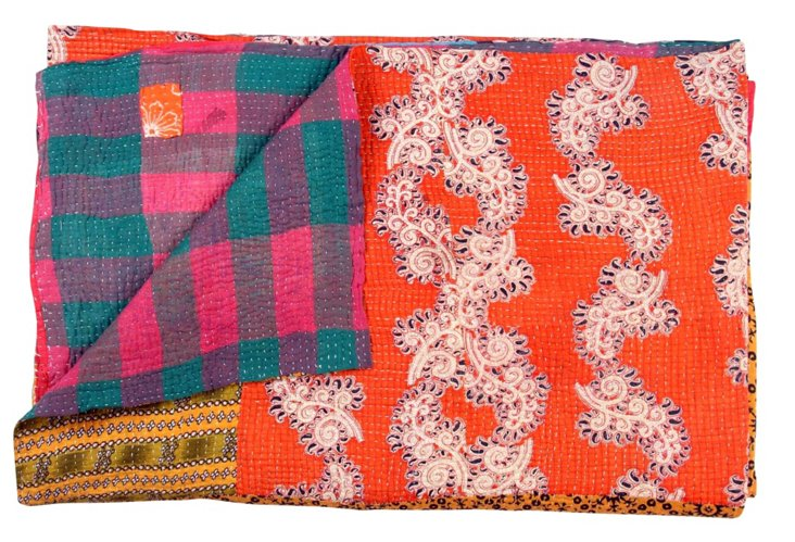 Hand-Stitched Kantha Throw, Sea