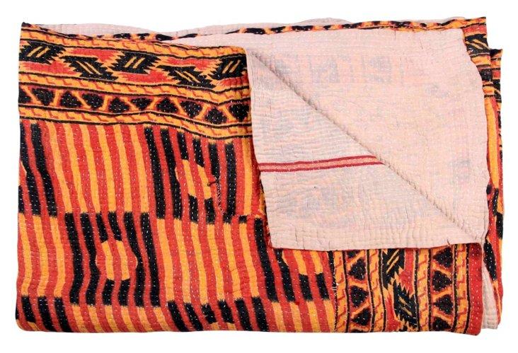 Hand-Stitched Kantha Throw, Decadent