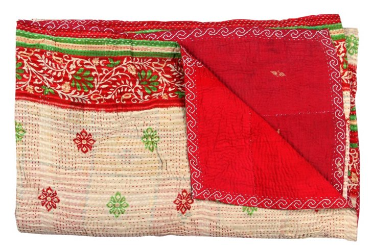 Hand-Stitched Kantha Throw, Exotic