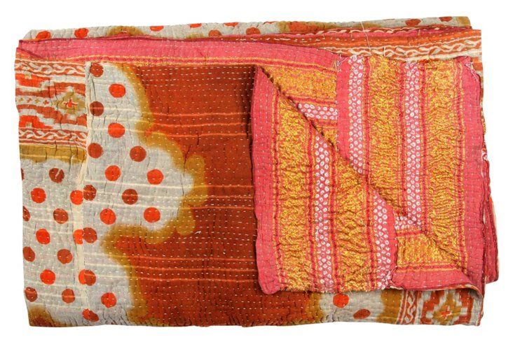Hand-Stitched Kantha Throw, Whimsical