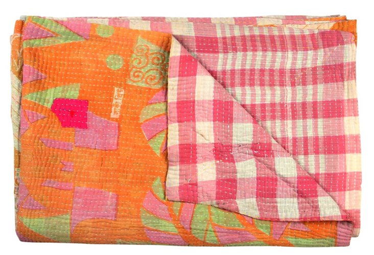 Hand-Stitched Kantha Throw, Lucky