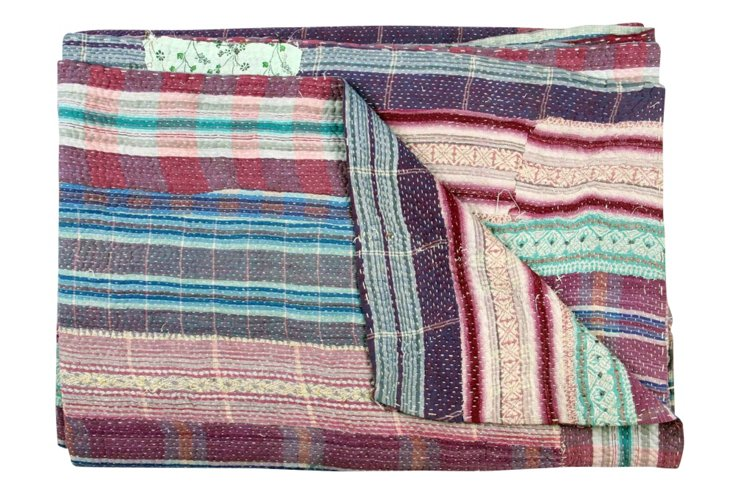 Hand-Stitched Kantha Throw, Streets