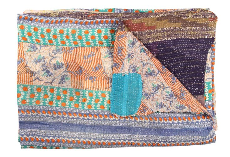 Hand-Stitched Kantha Throw, Fancy