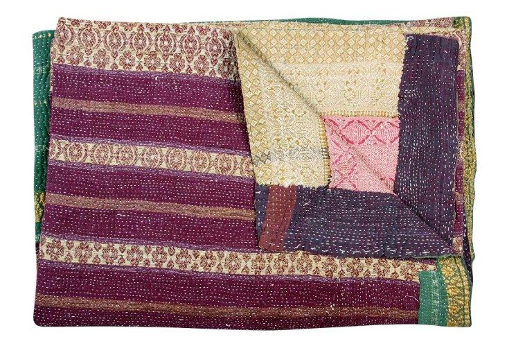 Hand-Stitched Kantha Throw, Dominate
