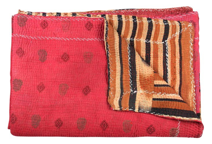 Hand-Stitched Kantha Throw, Beloved