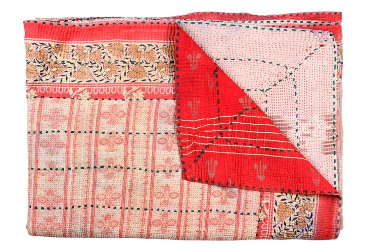 Hand-Stitched Kantha Throw, Cotton Candy