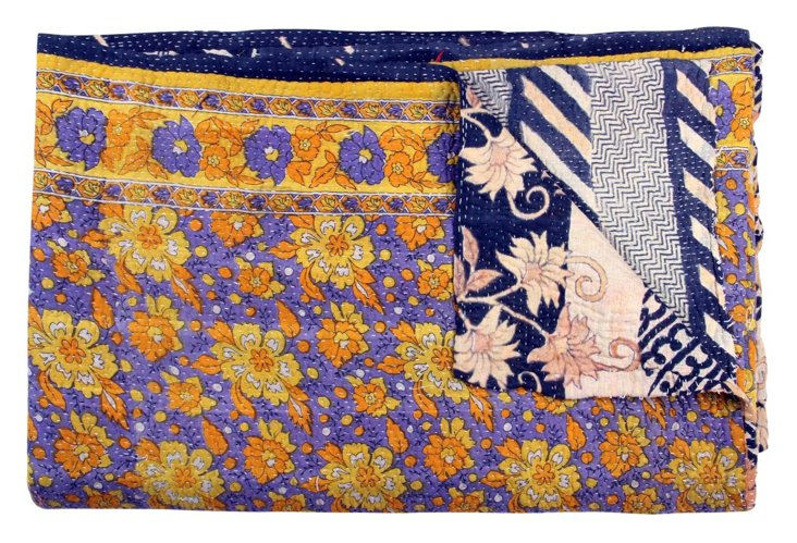 Hand-Stitched Kantha Throw, Borgia