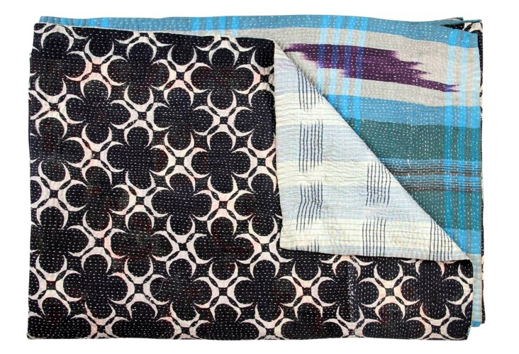 Hand-Stitched Kantha Throw, Classic