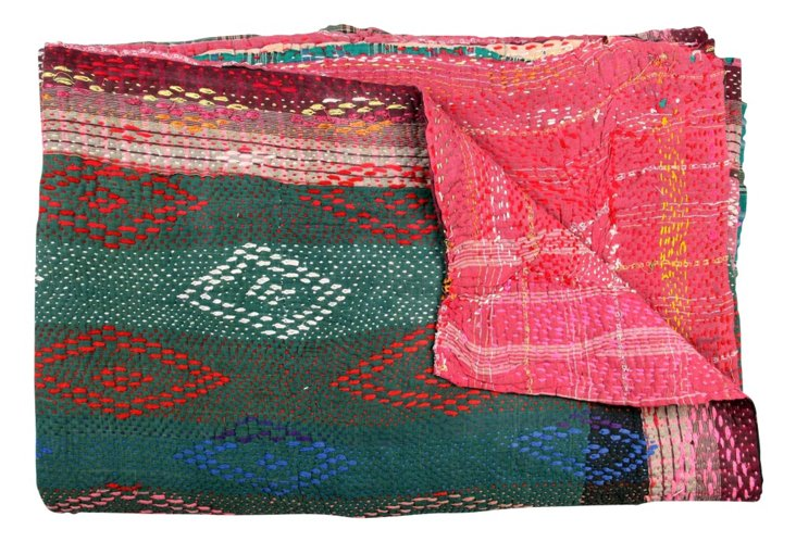 Hand-Stitched Kantha Throw, Sunset