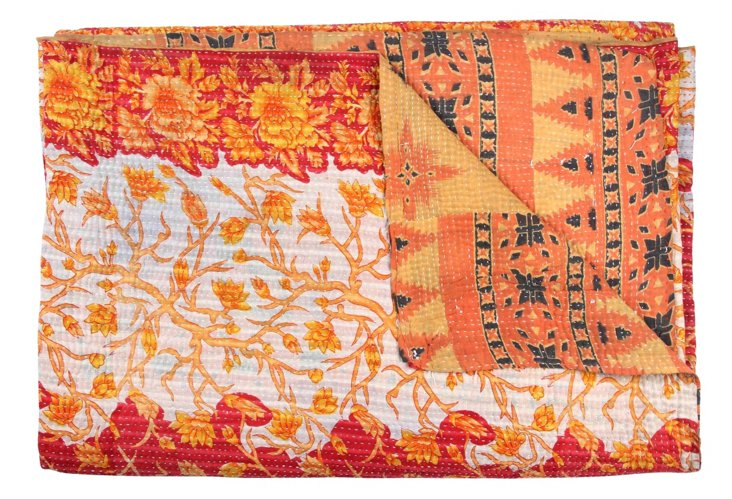 Hand-Stitched Kantha Throw, Flutter