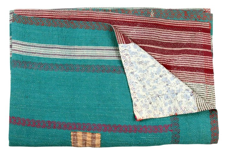 Hand-Stitched Kantha Throw, Bala