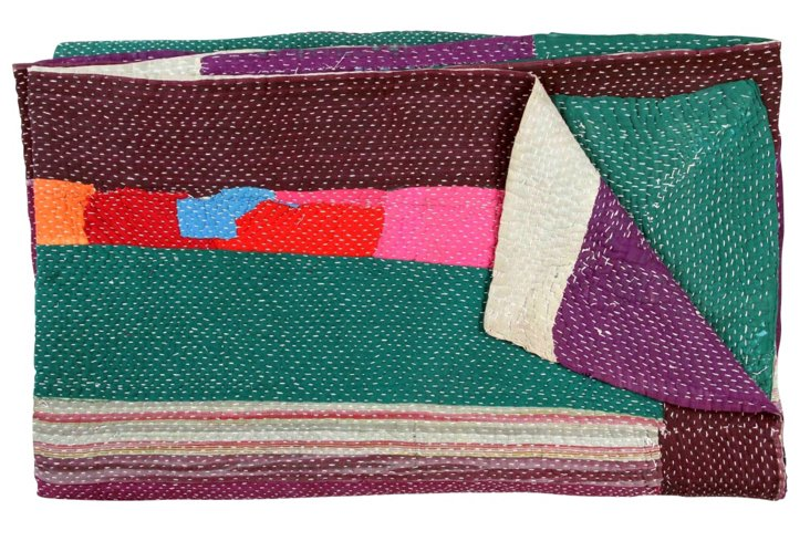 Hand-Stitched Kantha Throw, Apricot