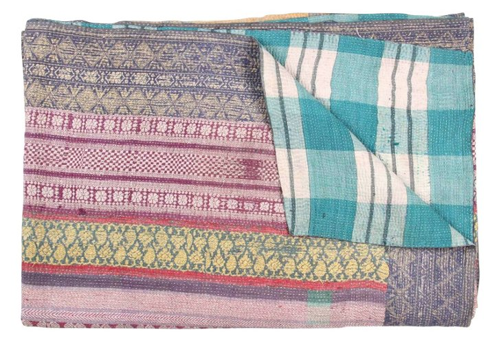 Hand-Stitched Kantha Throw, Africa