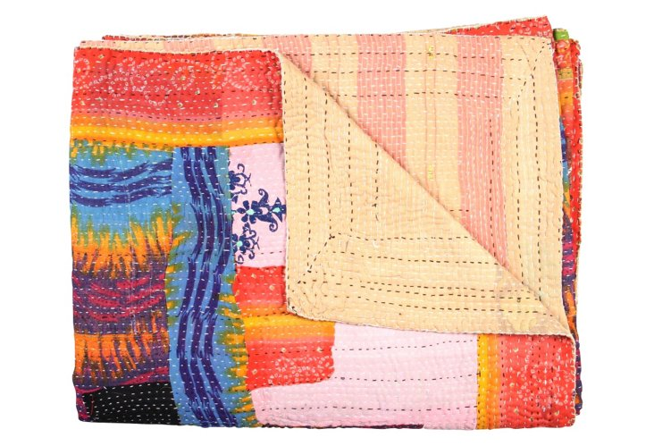 Hand-Stitched Kantha Throw, Seasons