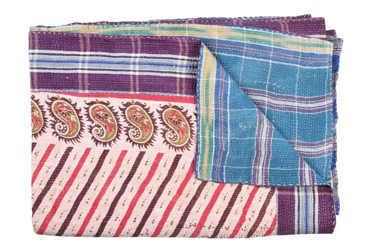 Hand-Stitched Kantha Throw, Victory
