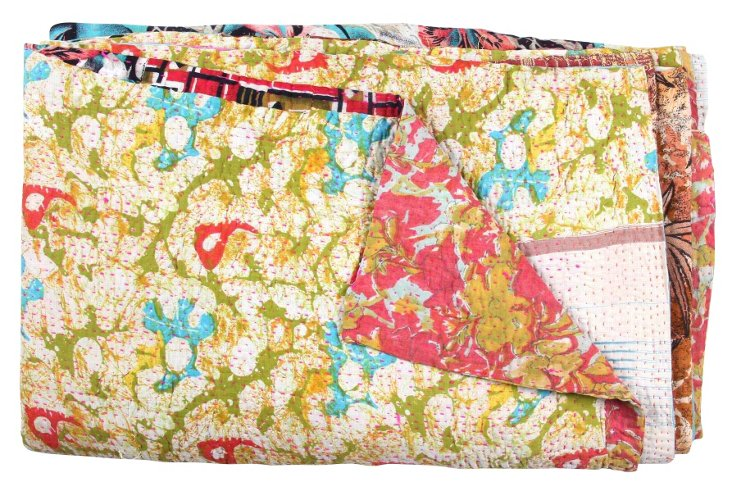 Hand-Stitched Kantha Throw, Lantern