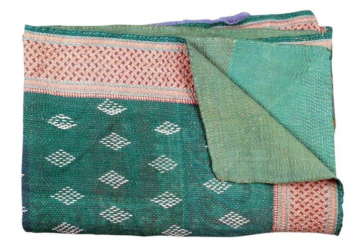 Hand-Stitched Kantha Throw, Celeste