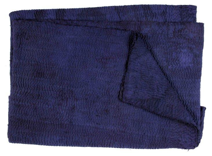 Hand-Stitched Indigo Kantha Throw, Grass