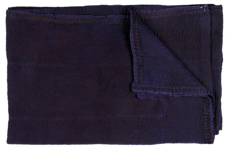 Hand-Stitched Indigo Kantha Throw, Hope