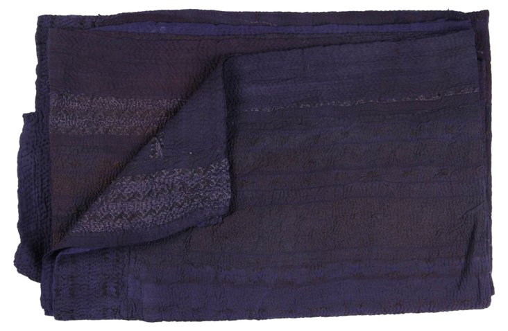 Hand-Stitched Indigo Kantha Throw, Star