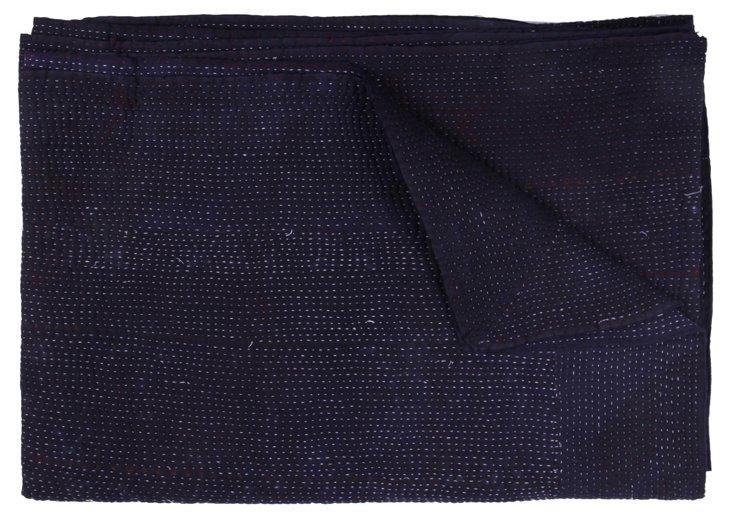 Hand-Stitched Indigo Kantha Throw, Beth