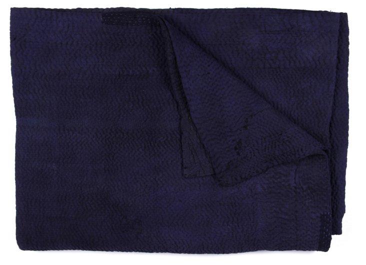 Hand-Stitched Indigo Kantha Throw, Annie