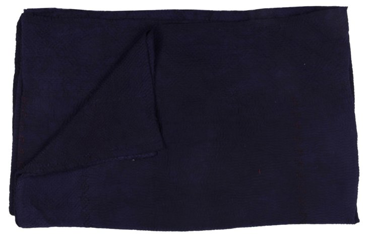 Hand-Stitched Indigo Kantha Throw, India