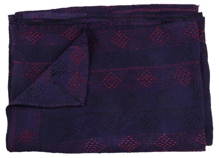 Hand-Stitched Indigo Kantha Throw, Arzul