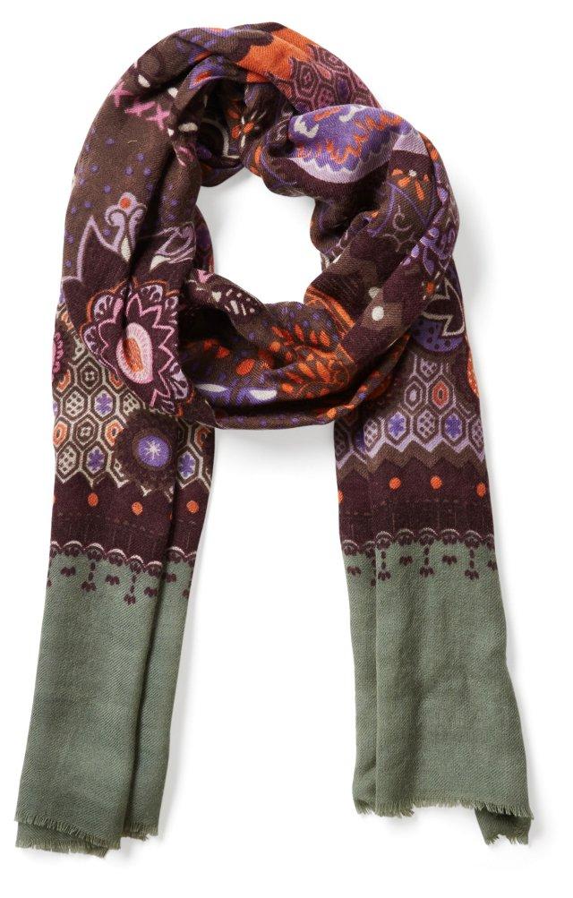 Wool/Silk Patterned Scarf, Purple