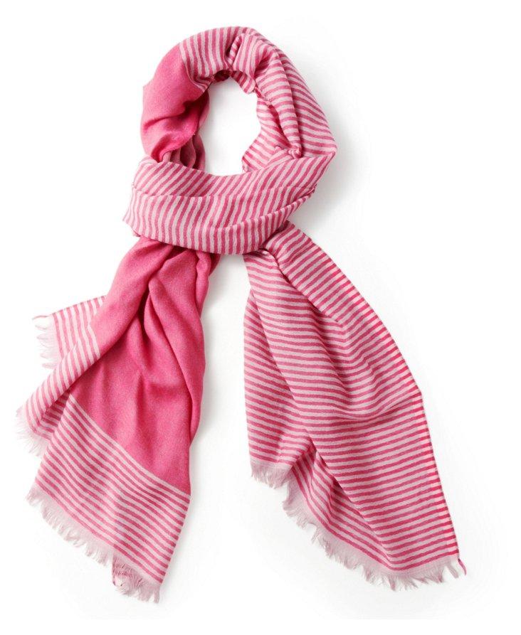 Merino Wool Fringe Scarf, Pink/White