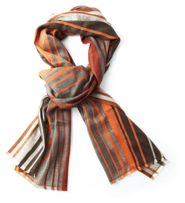 Merino Wool Scarf, Orange Stripe