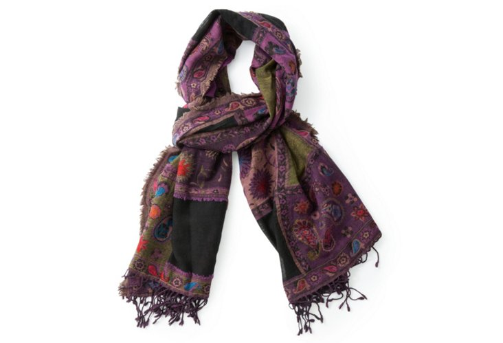 Wool Scarf, Green/Purple
