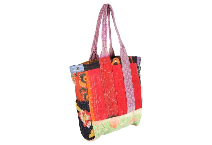 Kantha Multipatch Tote, Canal