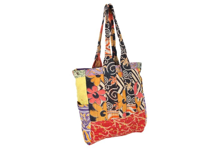 Kantha Multipatch Tote, Greene