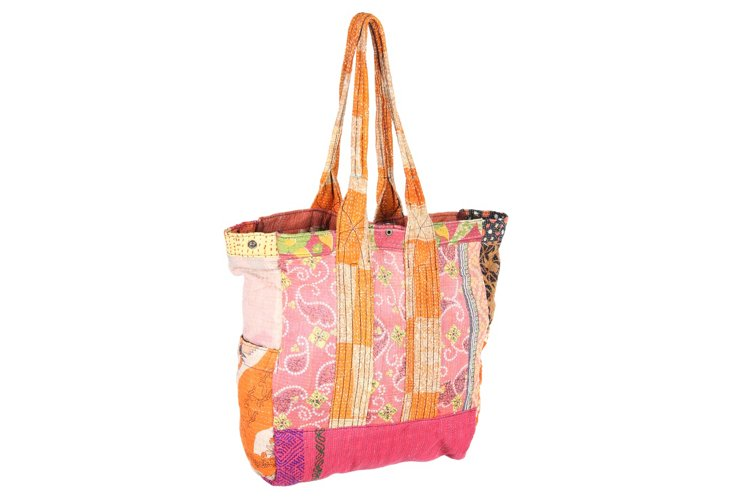 Kantha Multipatch Tote, Spring
