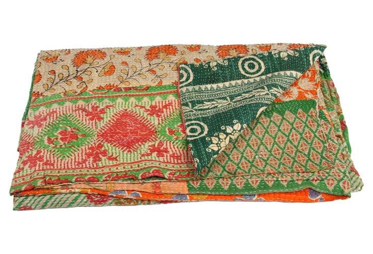Hand-Stitched Kantha Throw, Island
