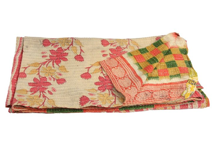 Hand-Stitched Kantha Throw, Africa