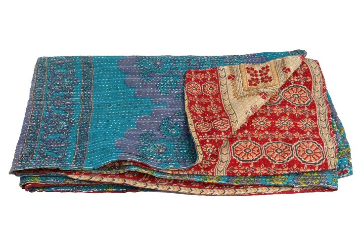 Hand-Stitched Kantha Throw, Joy