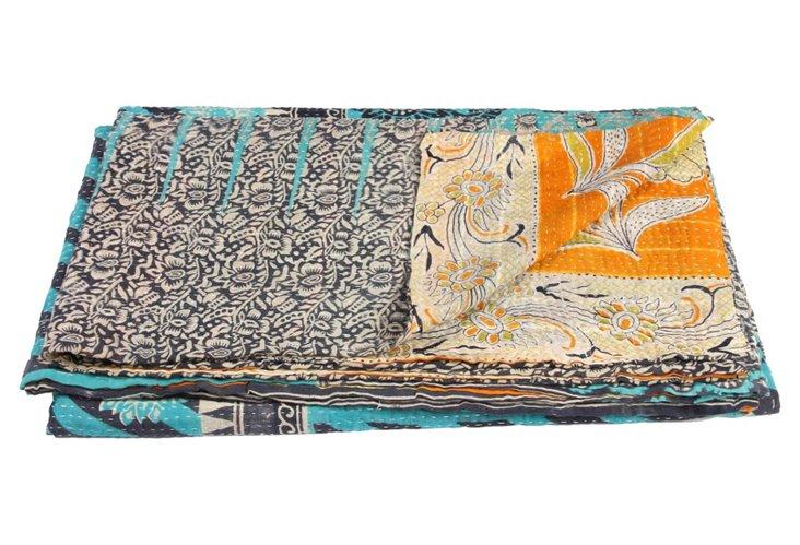 Hand-Stitched Kantha Throw, Swirl