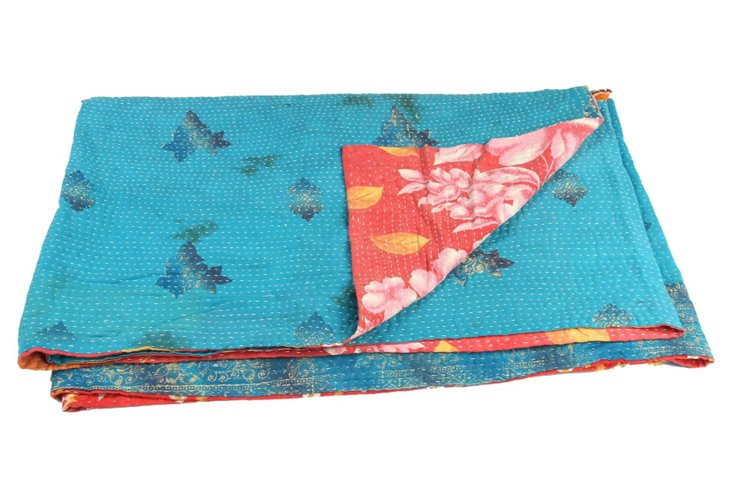 Hand-Stitched Kantha Throw, Daisy