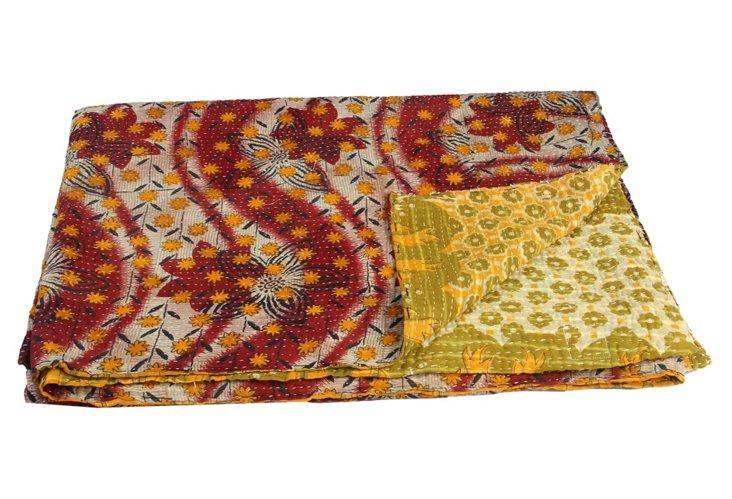 Hand-Stitched Kantha Throw, Indus