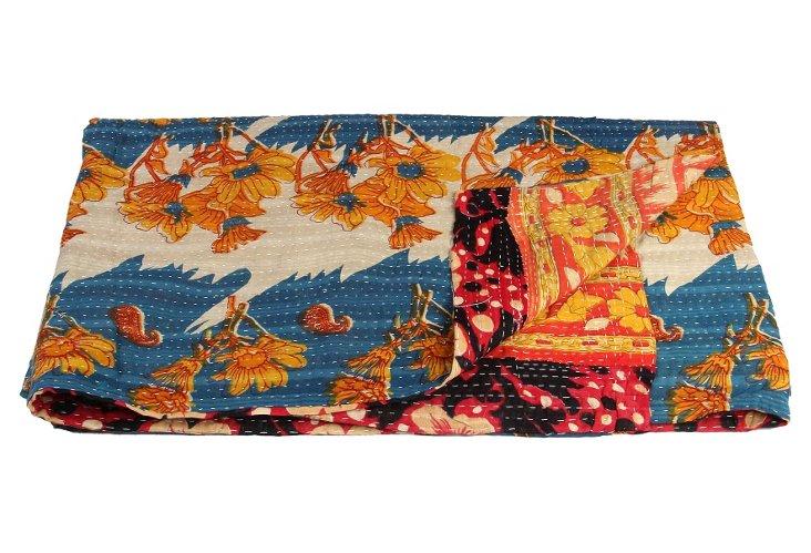Hand-Stitched Kantha Throw, Cuddalore