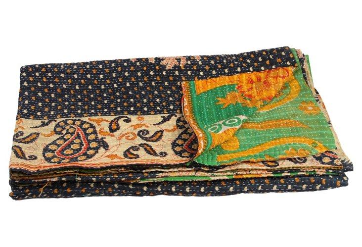 Hand-Stitched Kantha Throw, Summer