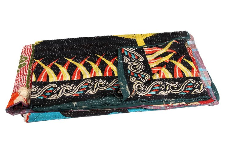 Hand-Stitched Kantha Throw, Simia