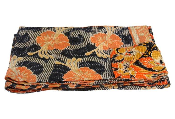 Hand-Stitched Kantha Throw, Tripurani