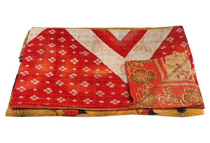 Hand-Stitched Kantha Throw, Fabero