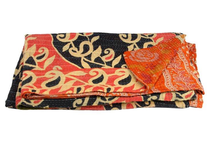 Hand-Stitched Kantha Throw, Eshe