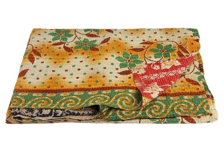 Hand-Stitched Kantha Throw, Grass